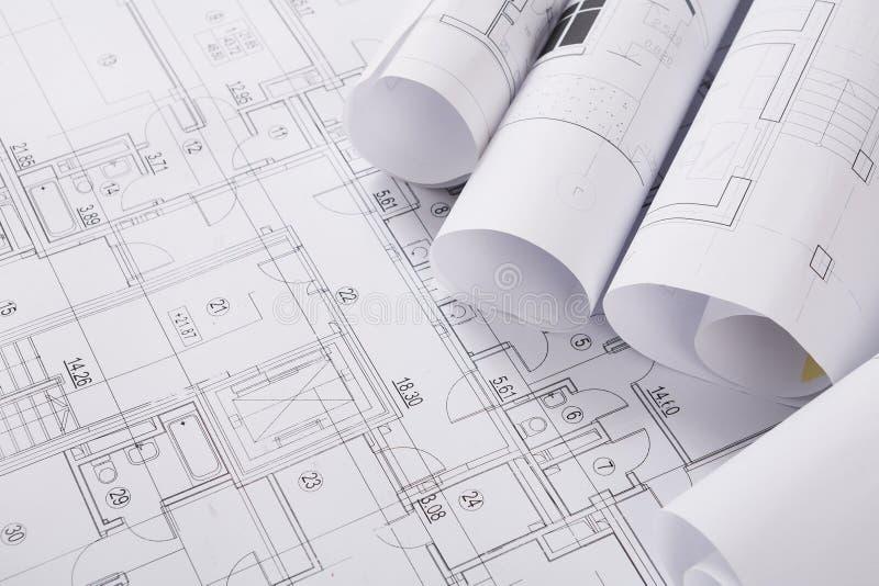 Plan van de bouw met copyspace Architecturale projectachtergrond stock foto's