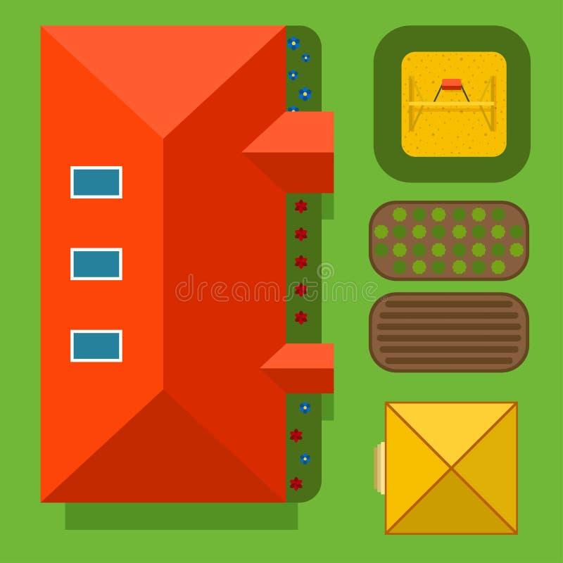 Plan van de privé hoogste mening van de huis vectorillustratie vector illustratie