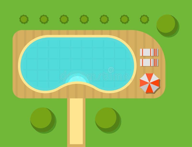 Plan van de privé hoogste mening van de huis vectorillustratie van de openlucht van de de villakaart van het huislandschap bouw v vector illustratie