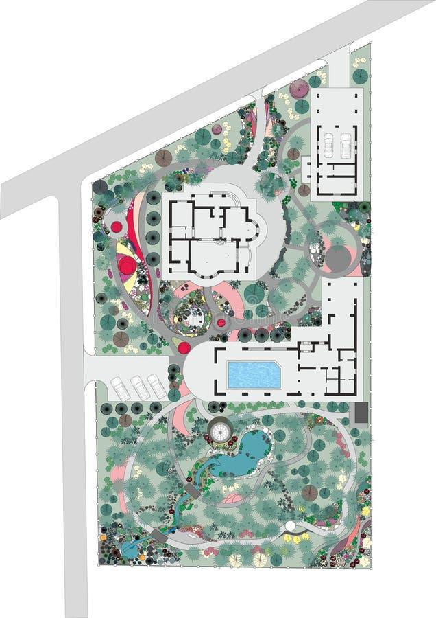 Plan van een Ontwerp van het Landschap en van de Tuin stock illustratie