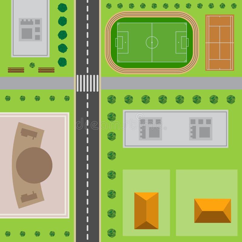 Plan van Stad Hoogste mening van de stad vector illustratie