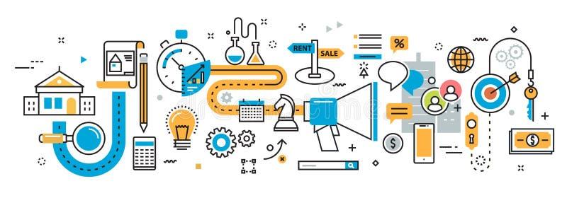 Plan van verkoop en huur de onroerende goederenproces van het de dienstagentschap vector illustratie
