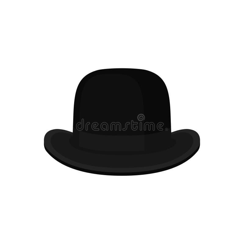 Plan vektor av den klassiska svarta kastaren eller derbyhatten Traditionell brittisk huvudbonad för män Trendig manlig tillbehör vektor illustrationer