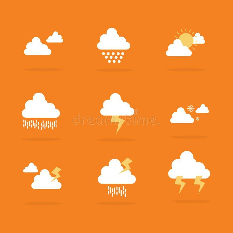 Plan vektor av vädersymbolsuppsättningen vektor illustrationer