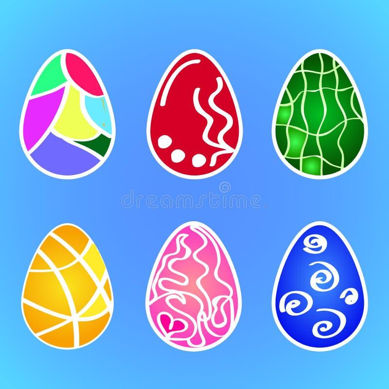 Plan vektor: en uppsättning av modeller av mång--färgade påskmodeller för ägg Anskaffning för berömmen av heliga Pascha royaltyfri illustrationer