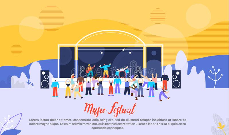 Plan vektor för musikfestival som annonserar banret royaltyfri illustrationer