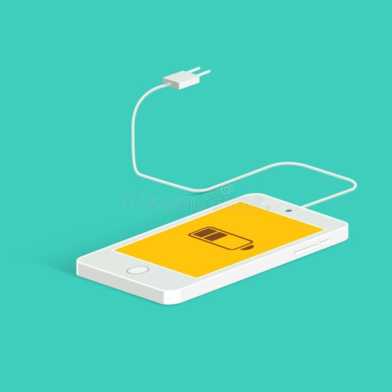 Plan vektorbild av telefonen, kabel och uppladdaren Telefonladdningsbild lågt batteri Isometriskt beskåda Vektorlägenhetstil stock illustrationer