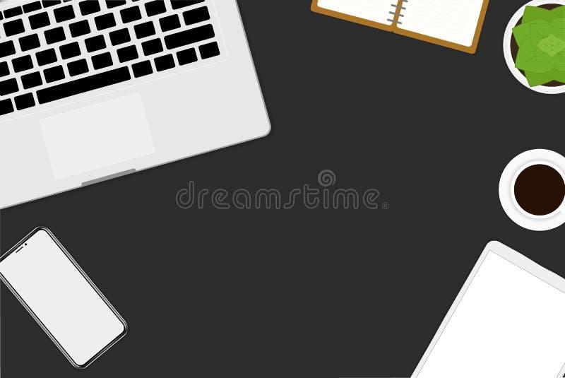 plan vektordesignillustration av kontoret och workspace Bästa sikt av skrivbordet med bärbara datorn, digitala apparater och minn vektor illustrationer
