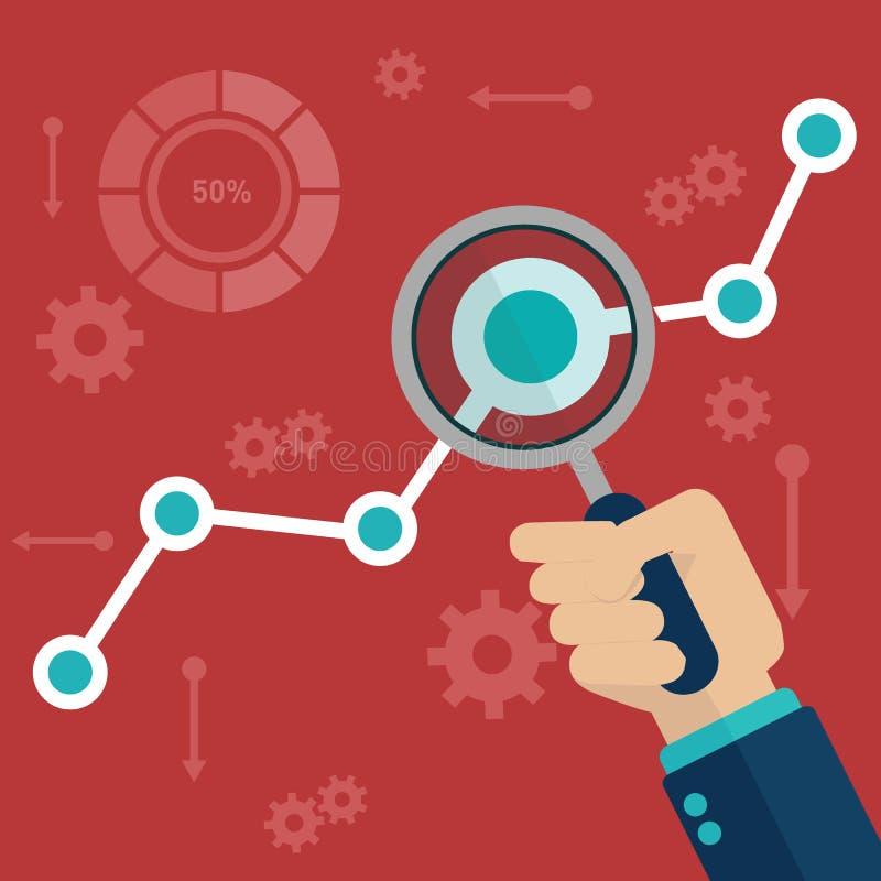 Plan vektorillustration av information om rengöringsdukanalytics och utvecklingswebsitestatistiken vektor illustrationer