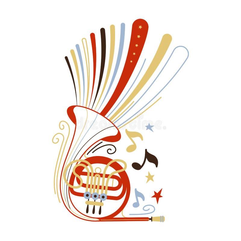 Plan vektorillustration för valthorn stock illustrationer
