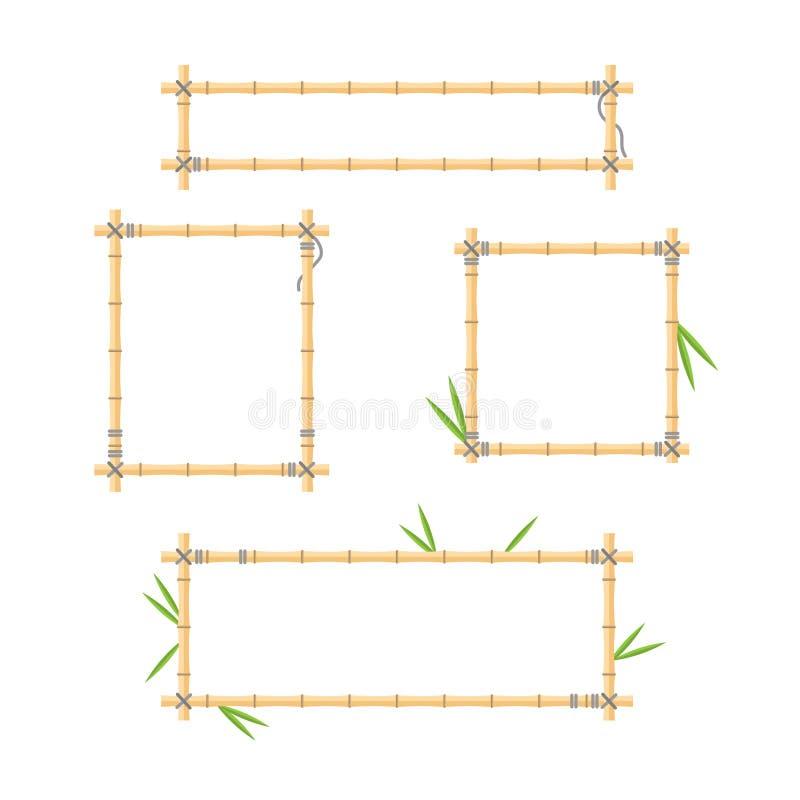 Plan vektorillustration med den wood samlingen för pinnerambakgrund Handgjord tropisk bambufilialuppsättning med sidor och rep royaltyfri illustrationer