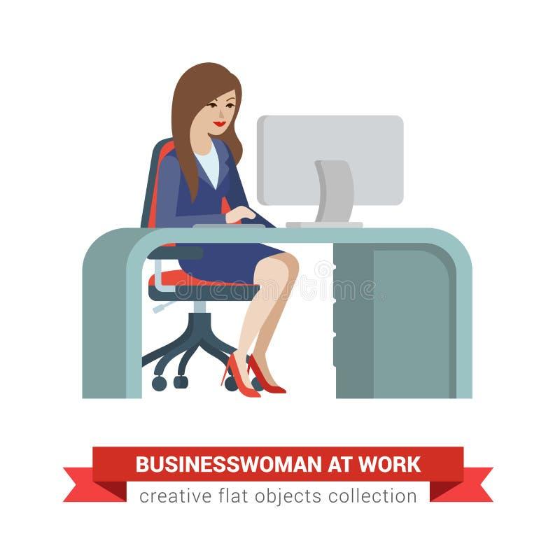 Plan vektorkvinna på arbetsplatsen: affärskvinna framstickande, sekreterare royaltyfri illustrationer