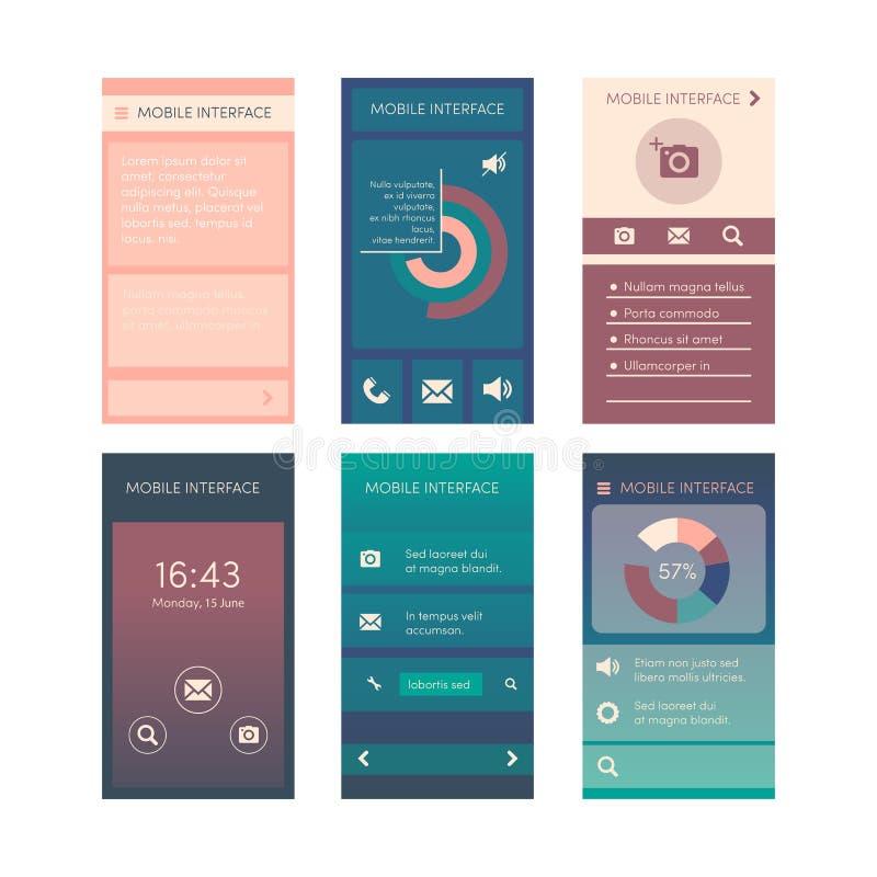 Plan vektorsamling av moderna mobiltelefoner med olika användargränssnittbeståndsdelar vektor illustrationer