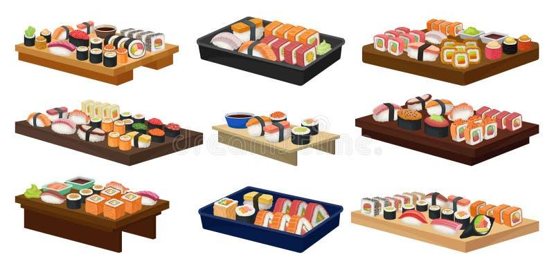 Plan vektorsamling av plattor med sushirullar asiatisk mat stekte traditionella grönsaker för rice Japansk kokkonst royaltyfri illustrationer