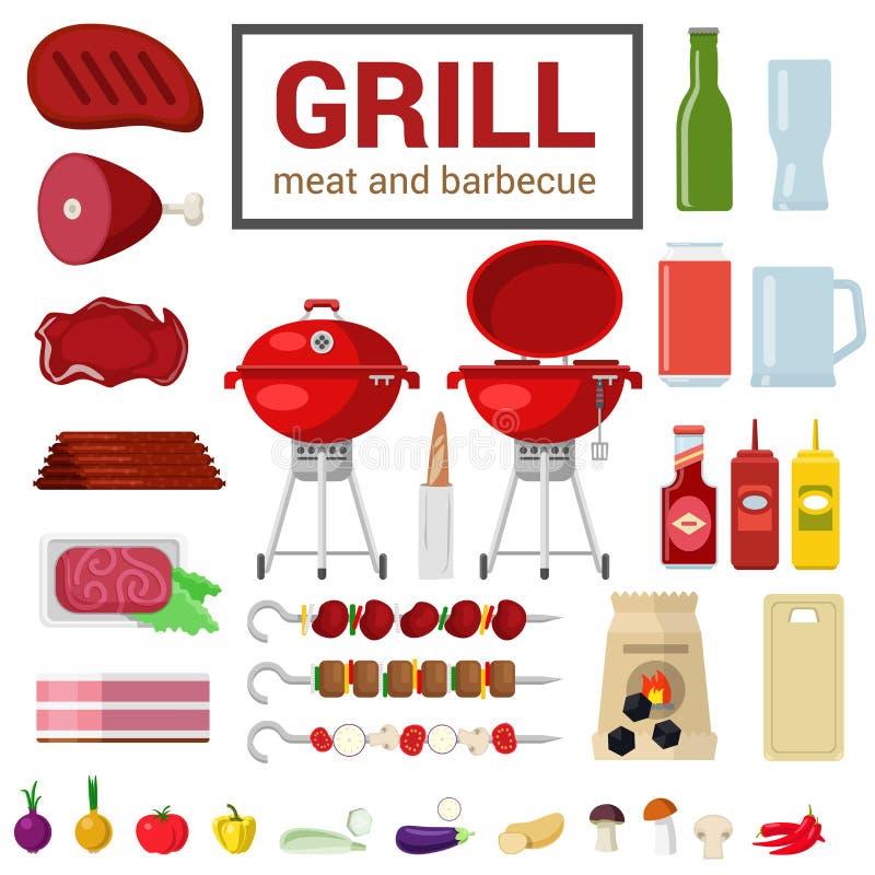 Plan vektorsymbol av att laga mat för BBQ för gallerköttgrillfest som är utomhus- vektor illustrationer