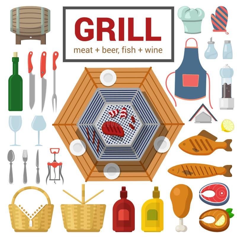 Plan vektorsymbol av att laga mat för BBQ för grillfest för gallerköttfisk som är utomhus- stock illustrationer