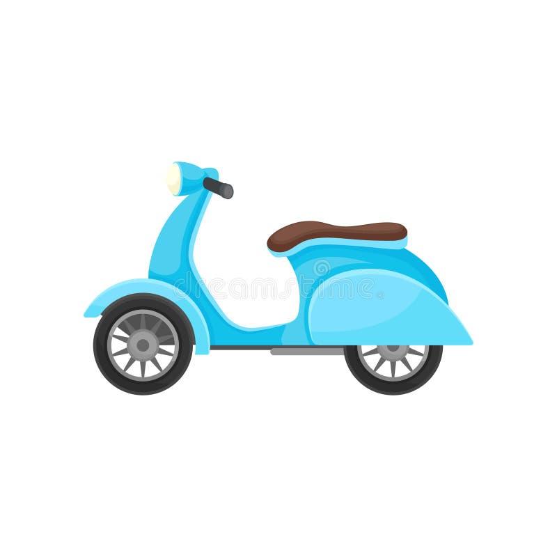 Plan vektorsymbol av den blåa sparkcykeln med den bruna platsen Två-rullat öppet motorfordon Modern stads- transport royaltyfri illustrationer