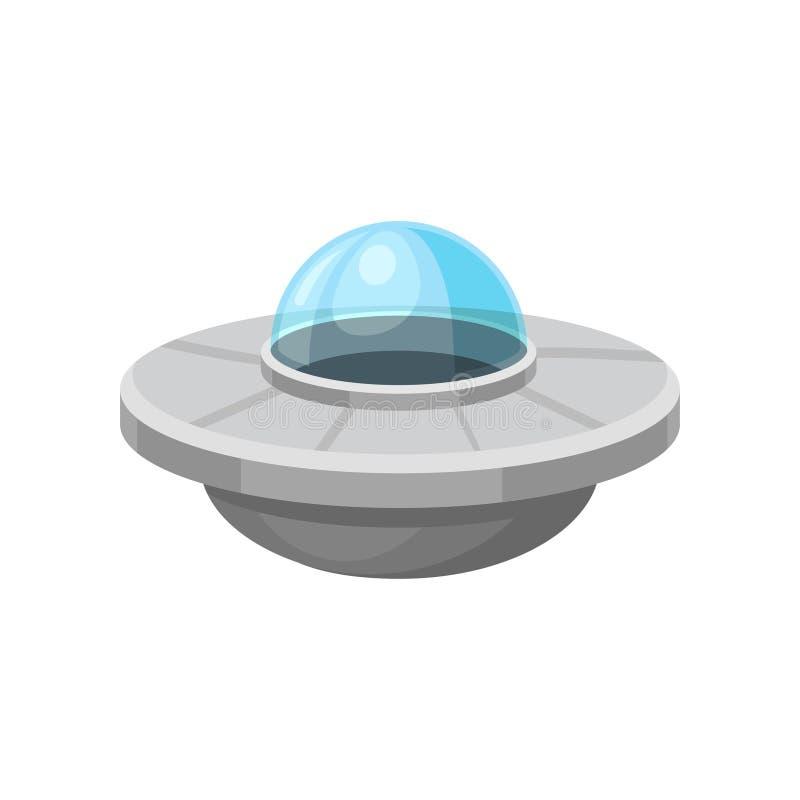 Plan vektorsymbol av den främmande ufon Marsinvånarerymdskepp Utomjordiskt utrymmeskepp Beståndsdel för fantasimobil stock illustrationer