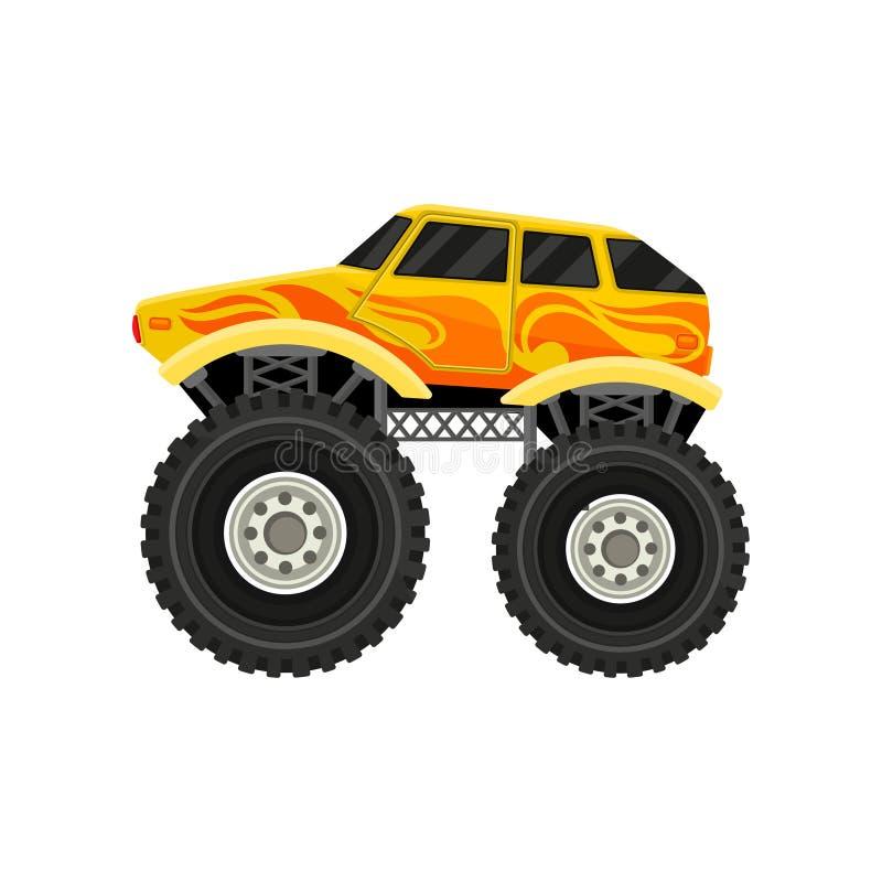 Plan vektorsymbol av den ljusa gula gigantiska bilen med stora gummihjul Beståndsdel för mobillek och att annonsera affischen ell stock illustrationer