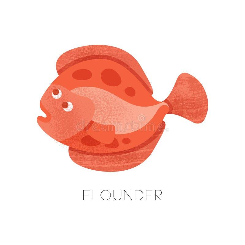 Plan vektorsymbol av den ljusa röda flundran med textur Liten plattfisk Havsvarelse Tema för marin- liv vektor illustrationer
