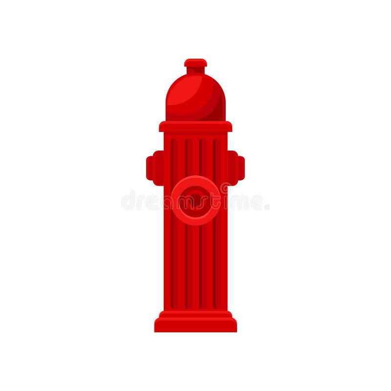 Plan vektorsymbol av den röda brandposten Metallvattenrör med dysor för slang Brandbekämpningtema royaltyfri illustrationer