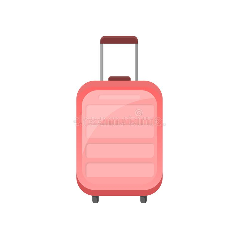 Plan vektorsymbol av den rosa plast- resväskan på hjul Handelsresandepåse med det teleskopiska handtaget Objekt släkt semestern stock illustrationer