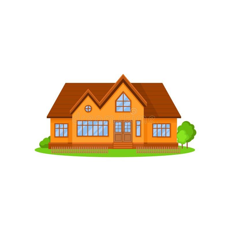 Plan vektorsymbol av det älskvärda två-våning huset med trätaket Litet staket, gröna träd och buskar på främre gård vektor illustrationer