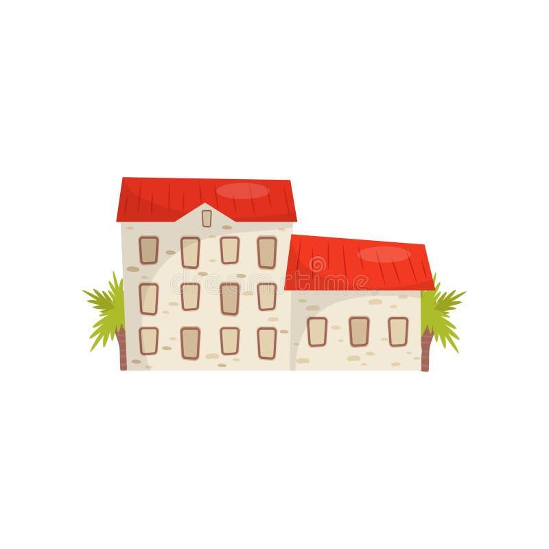 Plan vektorsymbol av det stora stenhuset med det ljusa röda taket Typisk kroatisk byggnad Chicago Illinois, USA vektor illustrationer