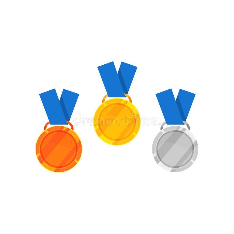 Plan vektorsymbol av guld, silver och bronsmedaljen med strumpebandsorden Skinande utmärkelser för vinnare av konkurrens seger stock illustrationer