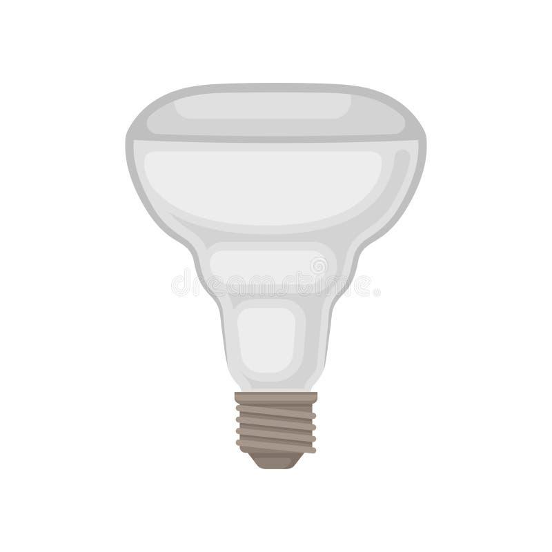 Plan vektorsymbol av halogenlampan Grå ljus kula Tända objekt Tema för energiförbrukning Beståndsdel för annonsering vektor illustrationer