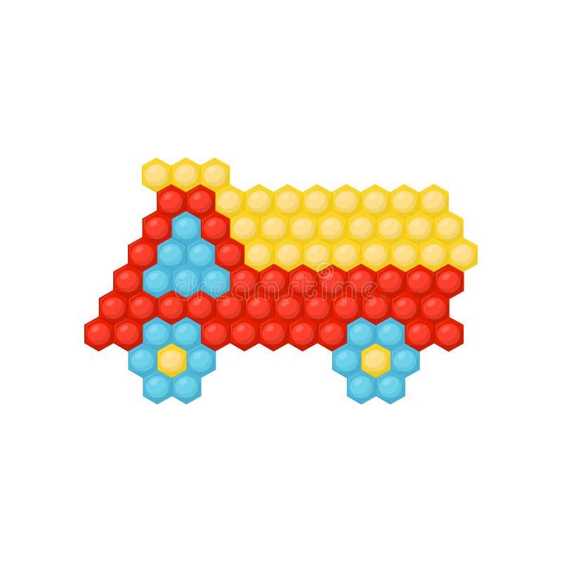 Plan vektorsymbol av lastbilbilen som göras av mångfärgad mosaik för barn s Lek för små barn Utveckling av logik och motorn royaltyfri illustrationer