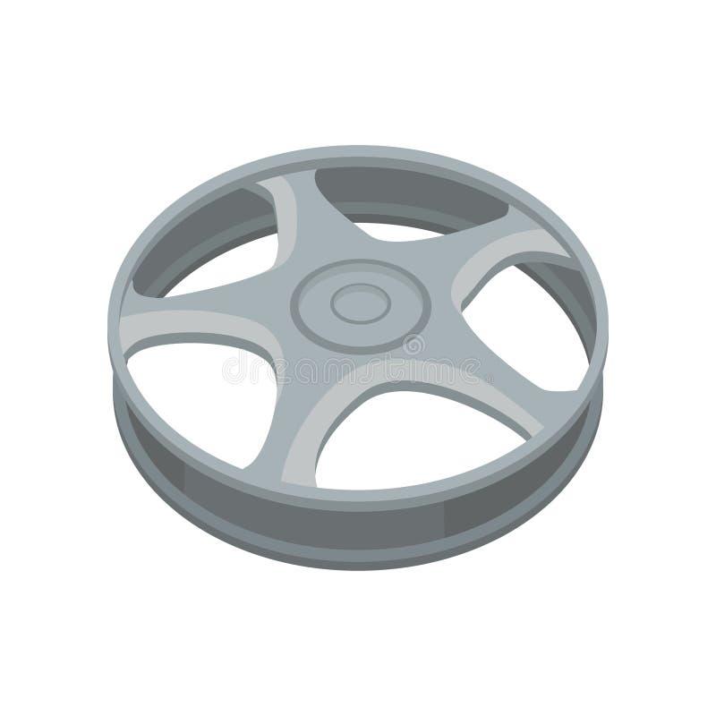Plan vektorsymbol av legeringshjulet Grå titanbilkant för bil eller motorcykel Beståndsdel för annonsering av affischen eller av  vektor illustrationer
