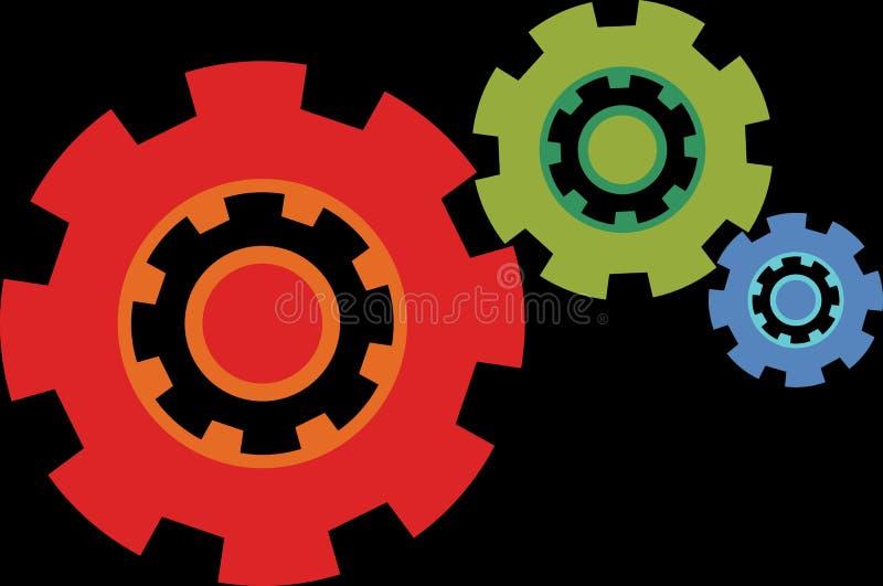 Plan vektorsymbol av olika färger för kugghjulhjul royaltyfria foton