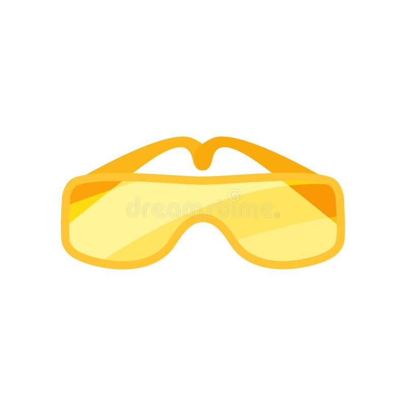 Plan vektorsymbol av säkerhetsskyddsglasögon Exponeringsglas med orange linser Skyddande eyewear för arbetare Industriell säkerhe vektor illustrationer
