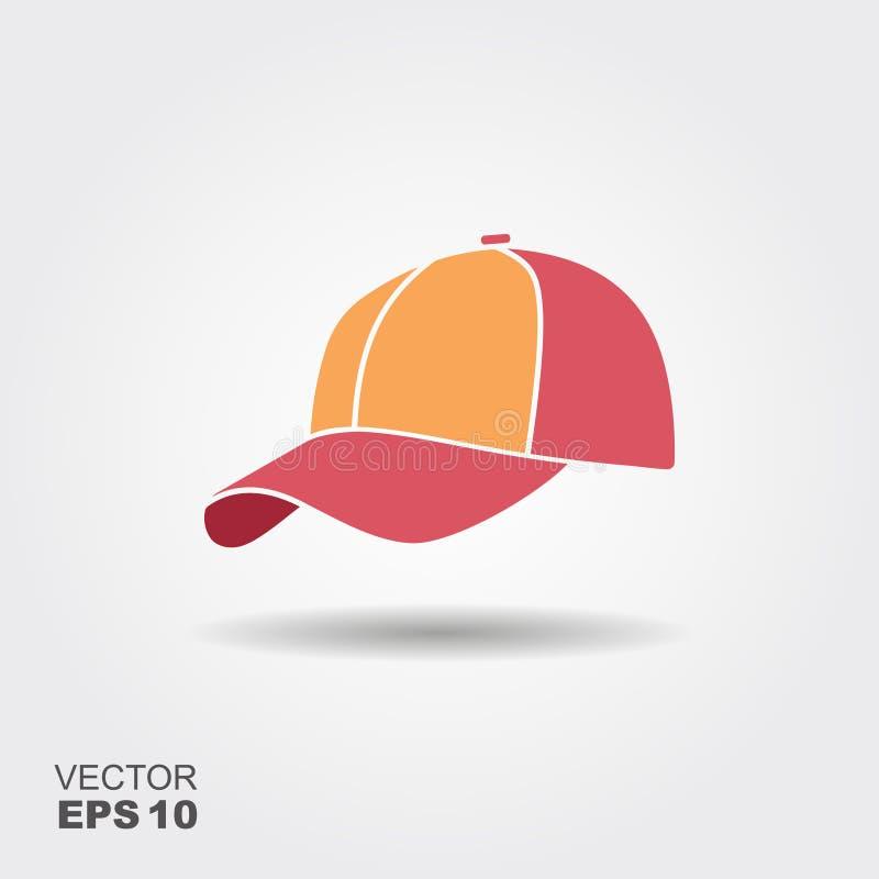 Plan vektorsymbol för baseballmössa med skugga royaltyfri illustrationer
