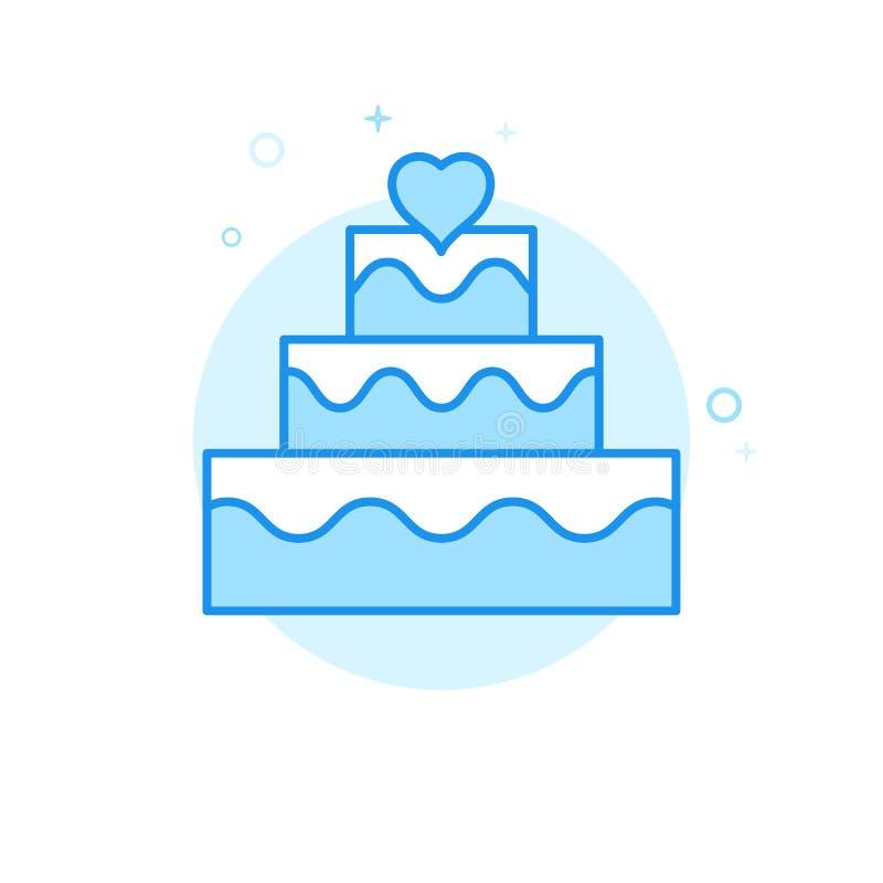 Plan vektorsymbol för bröllopstårta, symbol, Pictogram, tecken Ljust - blå monokrom design Redigerbar slaglängd vektor illustrationer