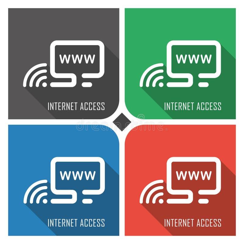 Plan vektorsymbol för internetåtkomst på färgrik bakgrund enkla PCrengöringsduksymboler eps8 vektor illustrationer