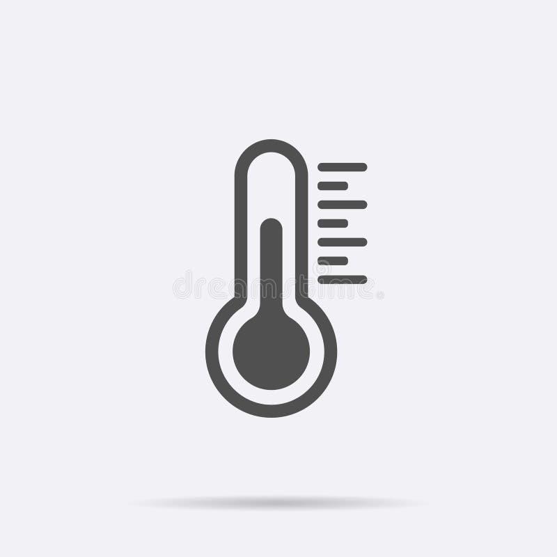 Plan vektorsymbol för temperatur Kyligt isolerat symbolbegrepp Medicintermometer Väder som är varmt och vektor illustrationer