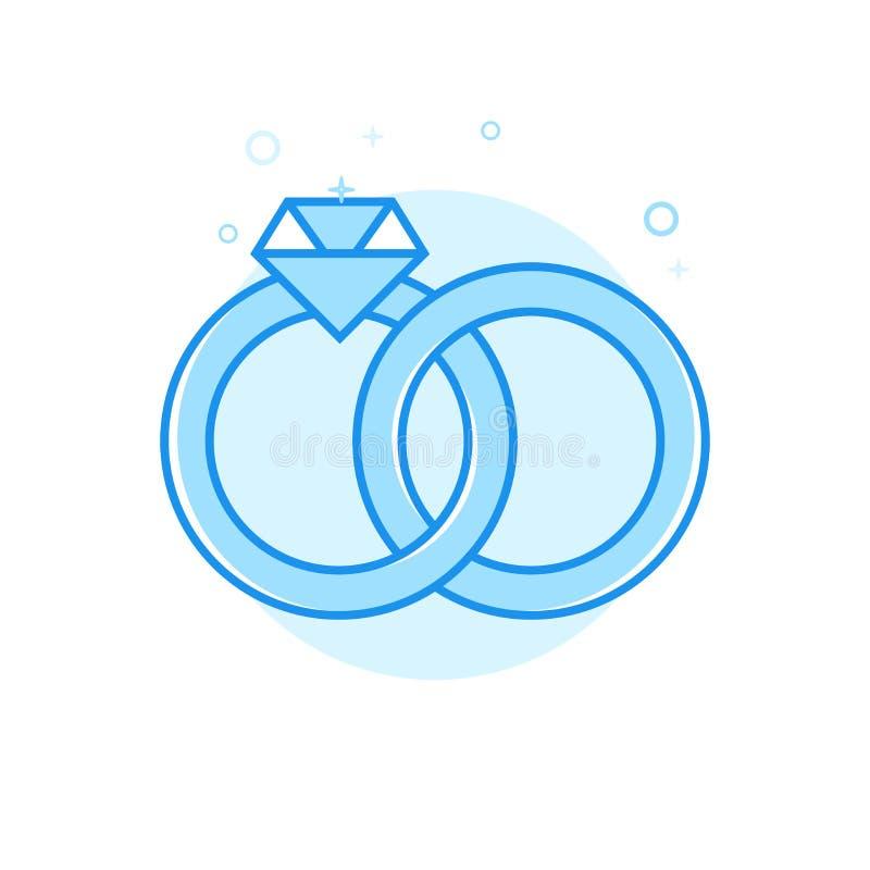 Plan vektorsymbol för vigselringar, symbol, Pictogram, tecken Ljust - blå monokrom design Redigerbar slaglängd stock illustrationer