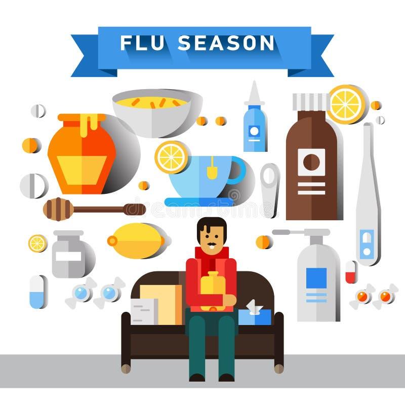 Plan vektorsymbolsuppsättning av förkylning- och influensasäsongen royaltyfri illustrationer