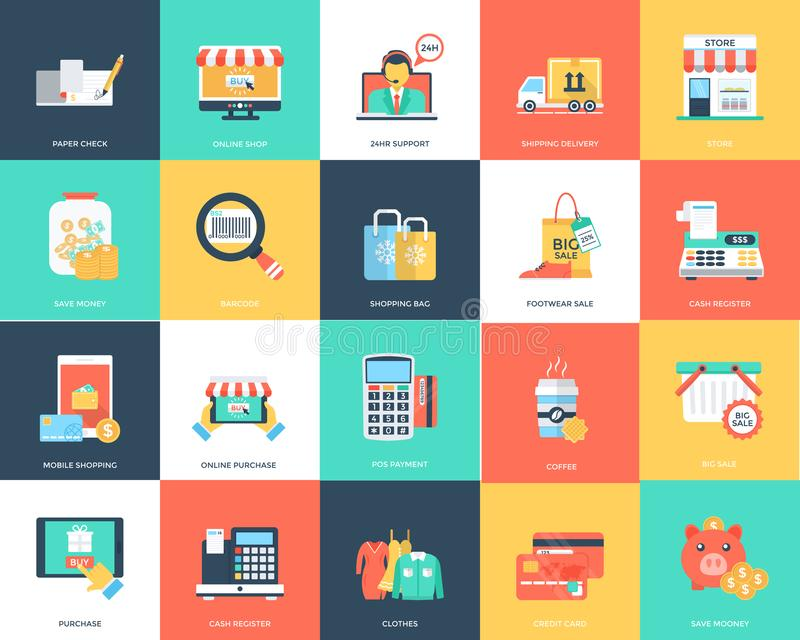 Plan vektorsymbolsuppsättning av shopping vektor illustrationer