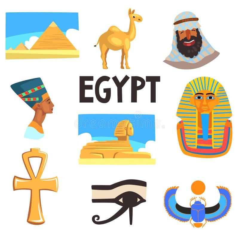 Plan vektoruppsättning av egyptiska kulturbeståndsdelar Pyramider, kamel, man i keffiyeh, Tutankhamen och Nefertiti, stor sfinx royaltyfri illustrationer