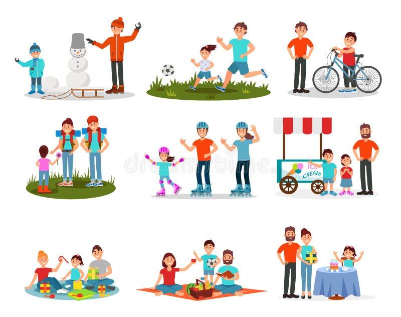 Plan vektoruppsättning av föräldrar med ungar i olika handlingar Familjfritid Aktiv utomhus- rekreation Födelsedag stock illustrationer