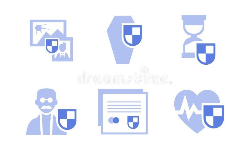 Plan vektoruppsättning av försäkringsymboler Hälsa liv, lopp, gammalt skydd Beståndsdelar för website eller affisch av affären stock illustrationer