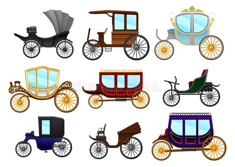 Plan vektoruppsättning av gamla hästdragna vagnar Tappningmedel för passagerare lagledarekunglig person vektor illustrationer