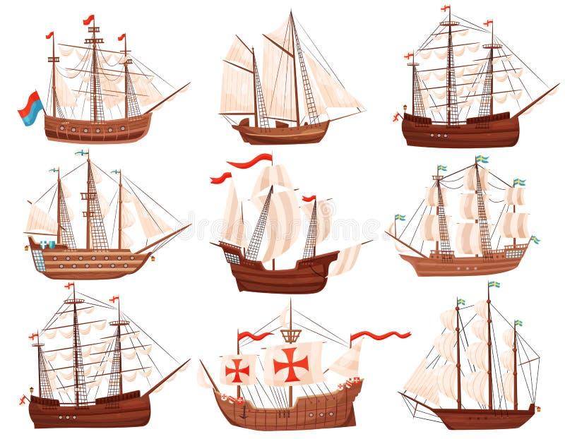 Plan vektoruppsättning av gamla träskepp Stora marin- skyttlar med seglar och sjunker Havs- och havtema vektor illustrationer