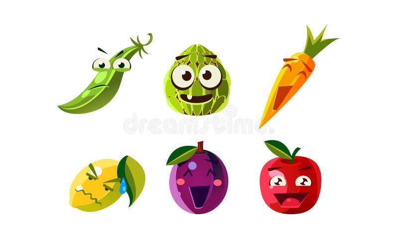 Plan vektoruppsättning av humaniserade frukter och grönsaker med olika ansiktsuttryck Roliga matsymboler cartoon royaltyfri illustrationer
