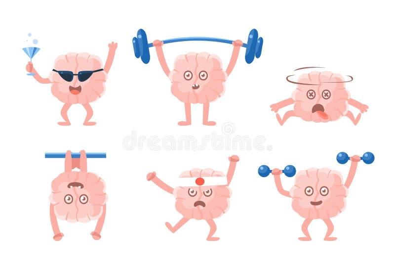 Plan vektoruppsättning av humaniserade hjärnor med armar och ben i olika handlingar roliga tecknad filmtecken Emoji för samkväm stock illustrationer