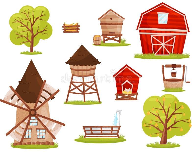 Plan vektoruppsättning av lantgårdsymboler Byggnader, konstruktioner och fruktträd Beståndsdelar för mobillek eller barnbok vektor illustrationer