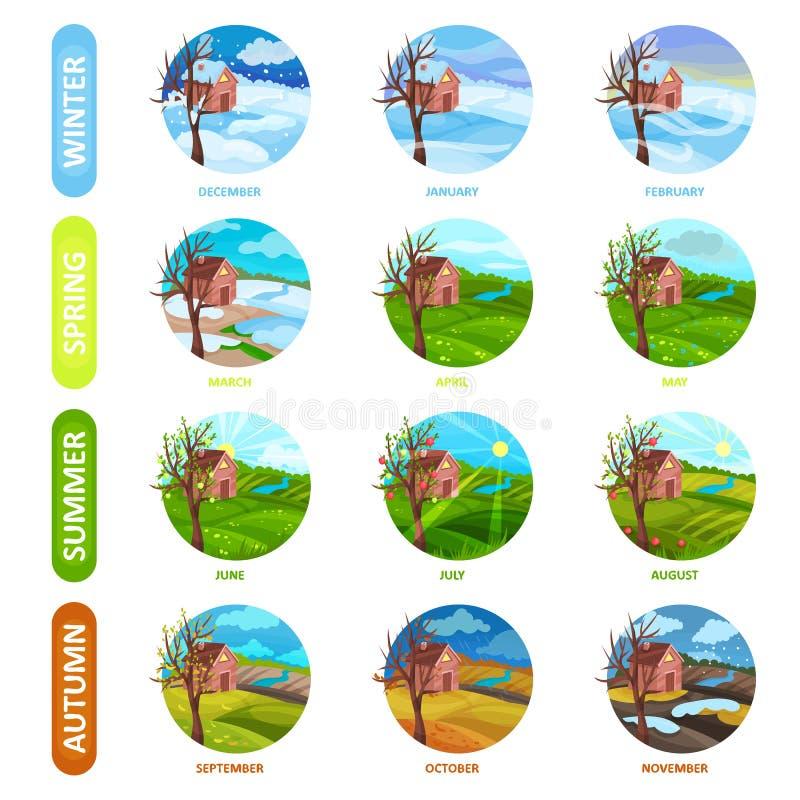 Plan vektoruppsättning av 12 månader av året Vinter, vår, sommar och höstsäsong äpplet clouds treen för sunen för naturen för blo stock illustrationer